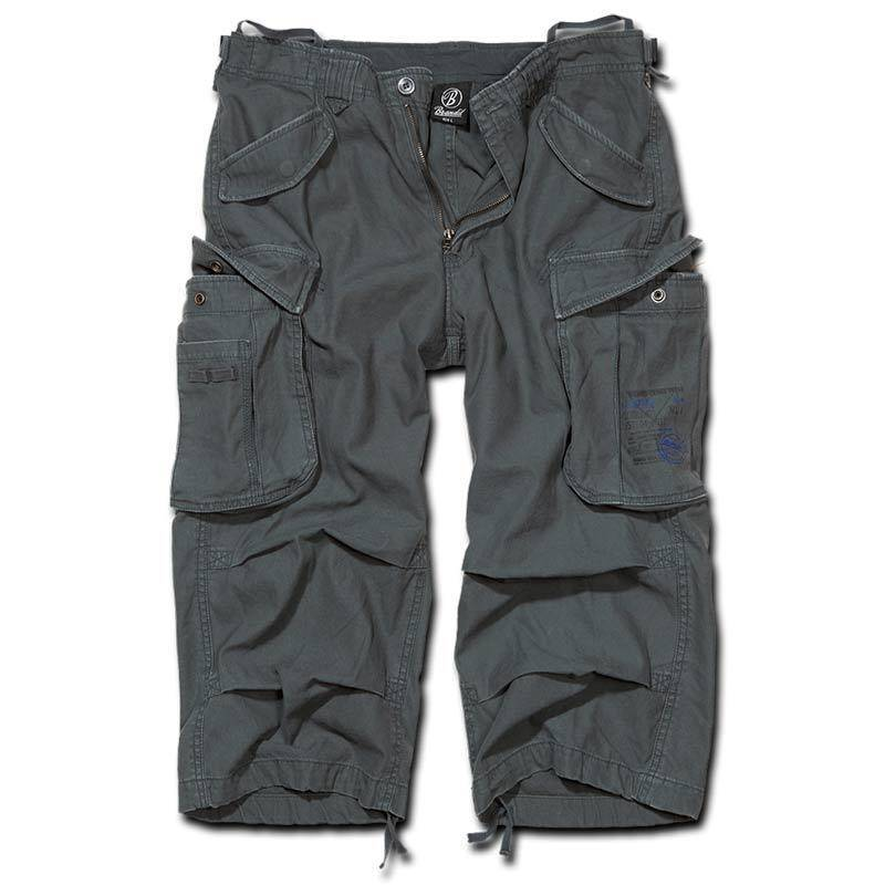 Brandit Industry 3/4 Shortsit  - Musta Harmaa - Size: 2XL