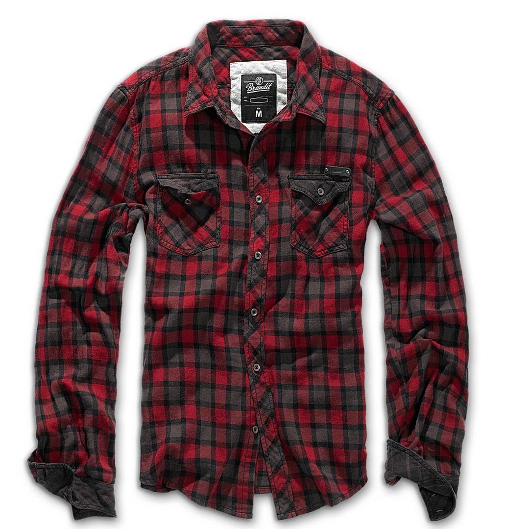 Brandit Check Duncan Paita  - Punainen Ruskea - Size: S