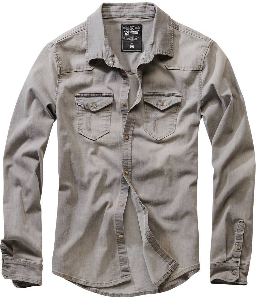 Brandit Riley Denim Paita  - Harmaa - Size: XL