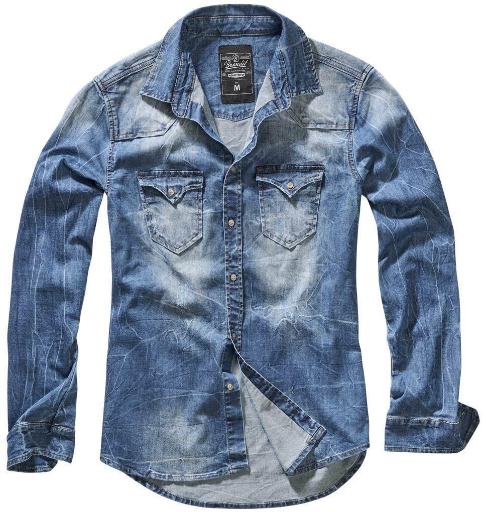 Brandit Riley Denim Paita  - Sininen - Size: S