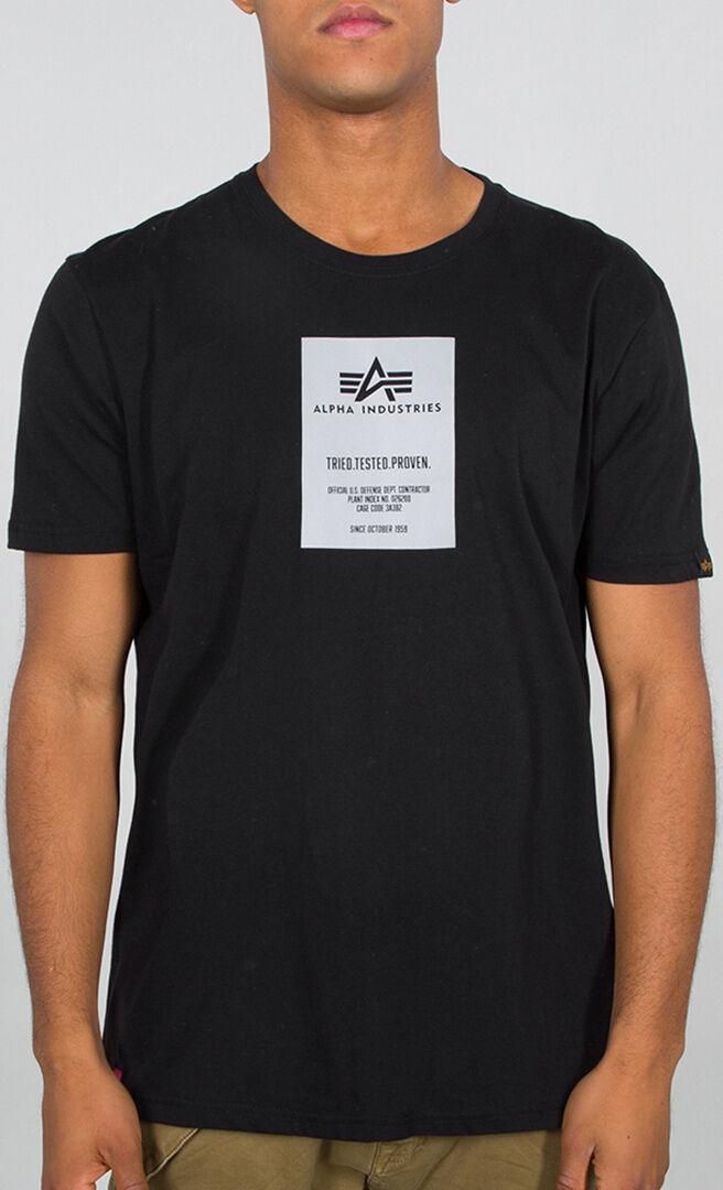 Alpha Industries Reflective Label T-paita  - Musta - Size: XL