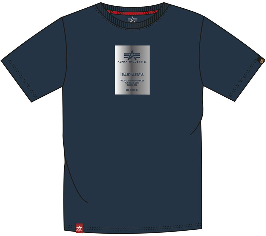 Alpha Industries Reflective Label T-paita  - Sininen - Size: XL