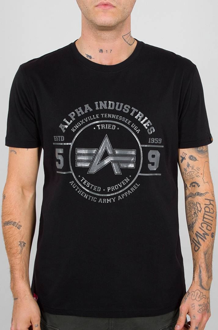Alpha Industries Authentic Vinyl T-paita  - Musta - Size: 2XL