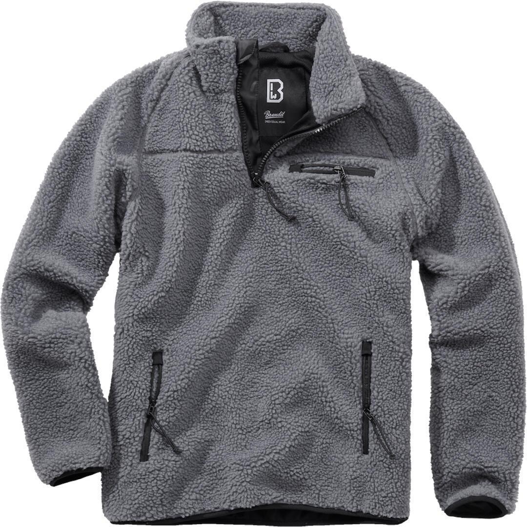 Brandit Teddyfleece Pullover  - Musta Harmaa - Size: S