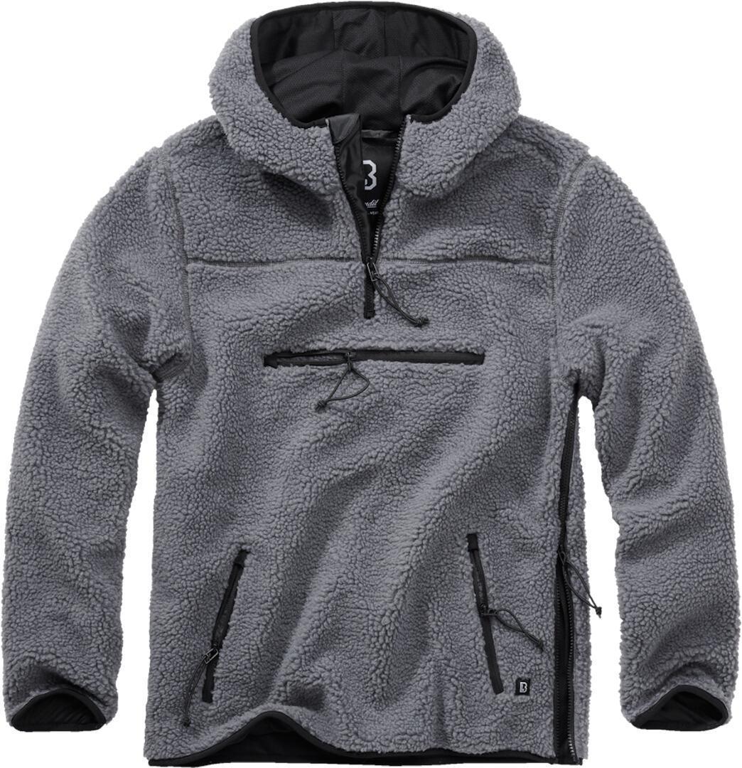 Brandit Teddyfleece Worker Pullover  - Musta Harmaa - Size: M