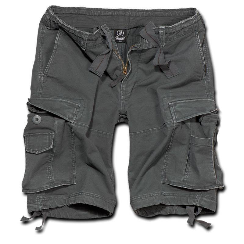 Brandit Vintage Classic Shortsit  - Musta Harmaa - Size: L