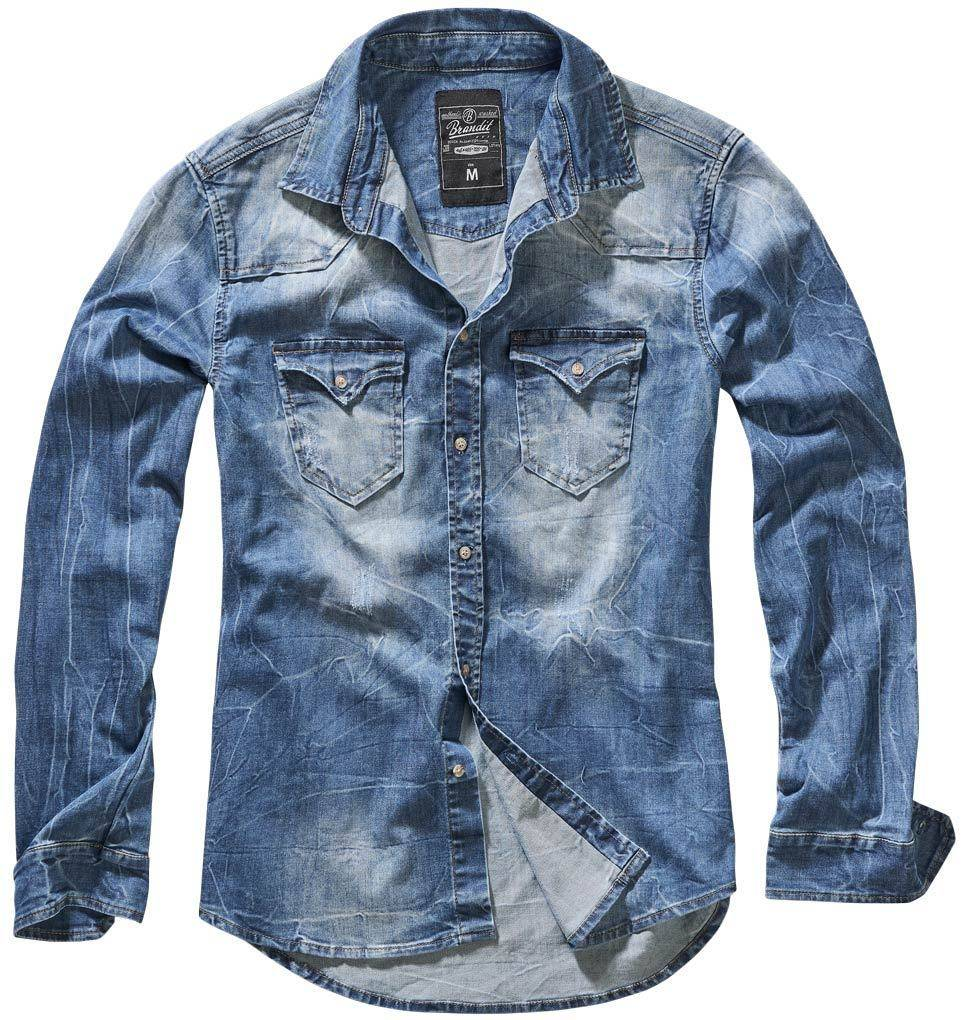 Brandit Riley Denim Paita  - Sininen - Size: 4XL