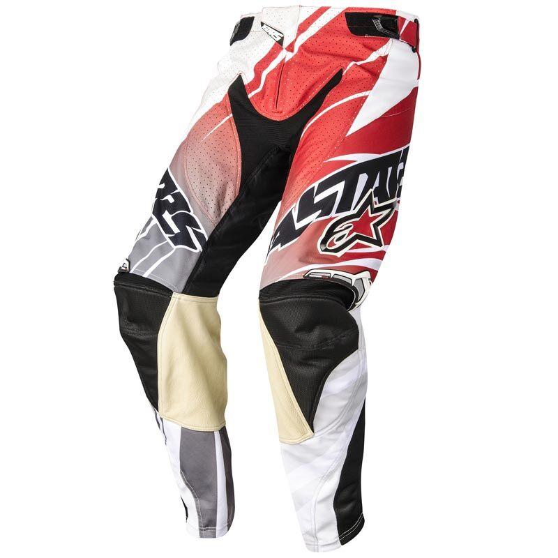 Alpinestars Techstar Motocross-housut  - Valkoinen Punainen - Size: 30