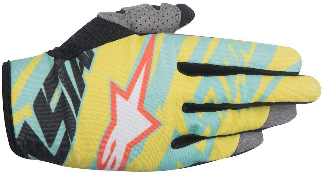 Alpinestars Eli Tomac Techstar Motocross käsineet  - Sininen Keltainen - Size: XL
