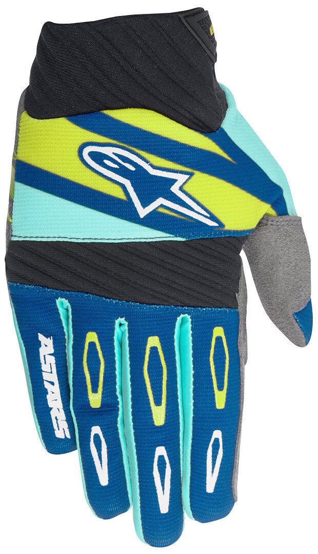 Alpinestars Techstar Factory Motocross käsineet  - Turkoosi Sininen Keltainen - Size: 2XL