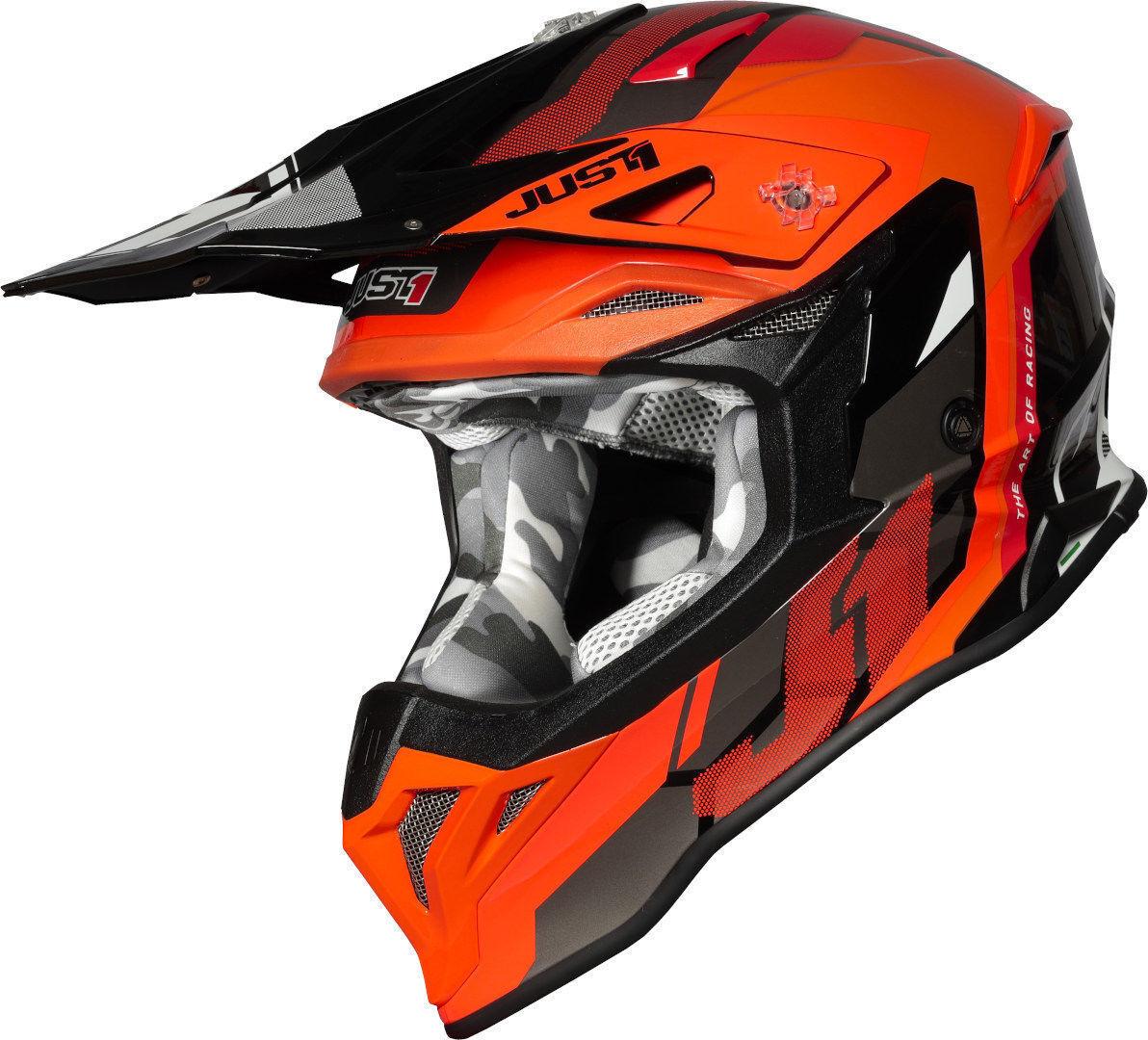 Just1 J39 Reactor Motocross kypärä  - Musta Oranssi - Size: XL