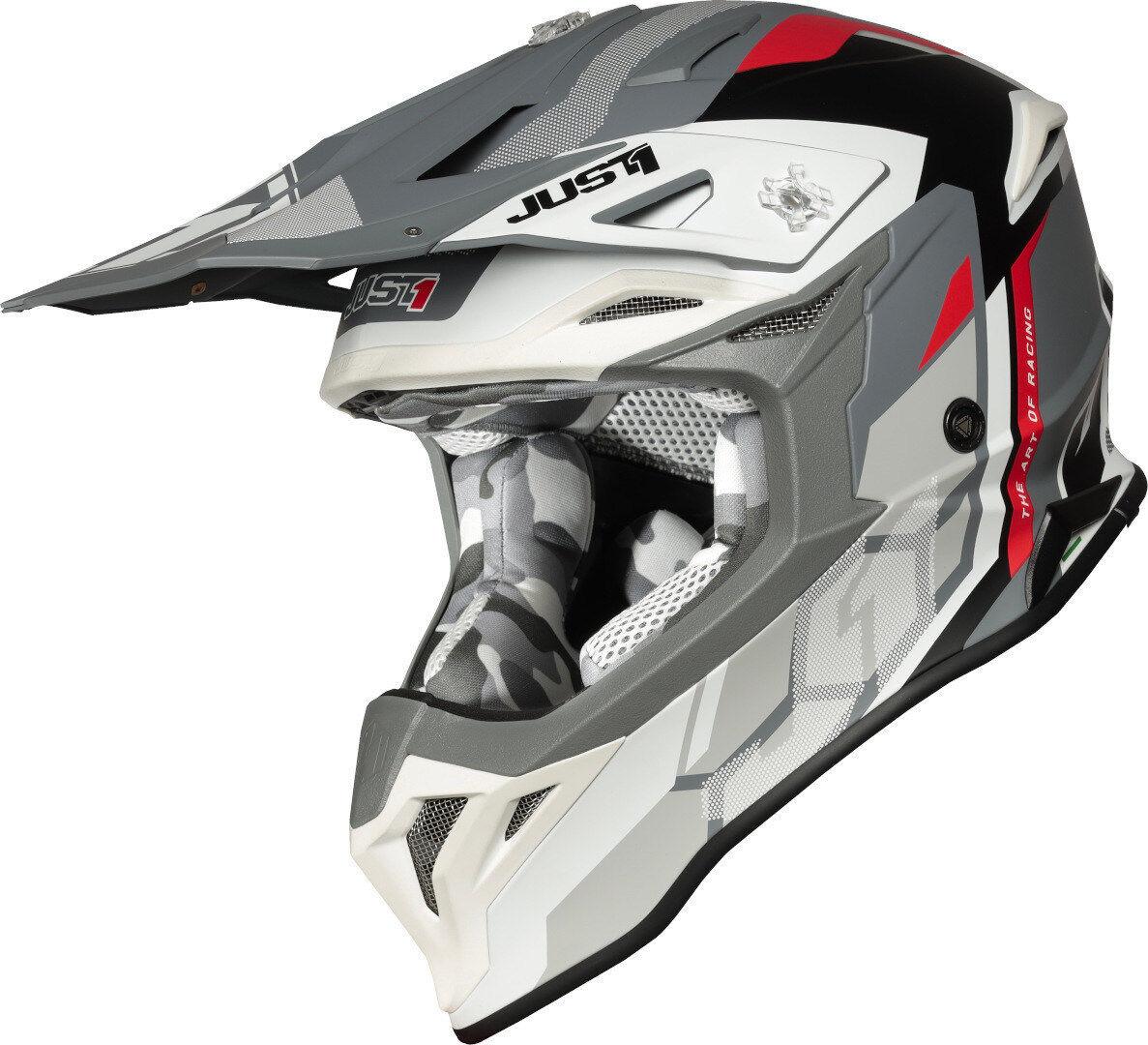 Just1 J39 Reactor Motocross kypärä  - Harmaa Valkoinen Punainen - Size: L