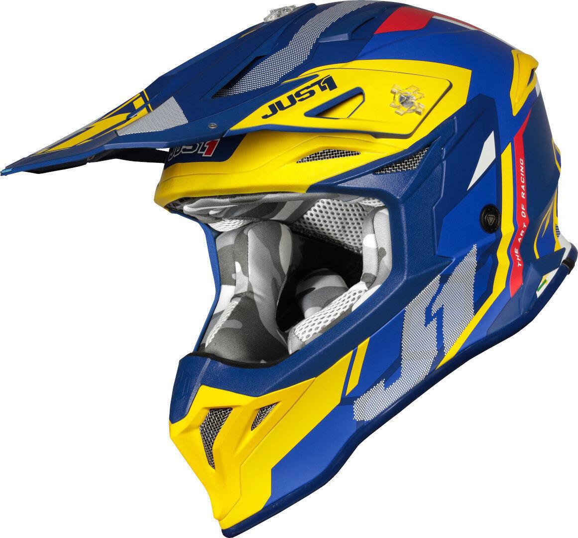 Just1 J39 Reactor Motocross kypärä  - Sininen Keltainen - Size: XL