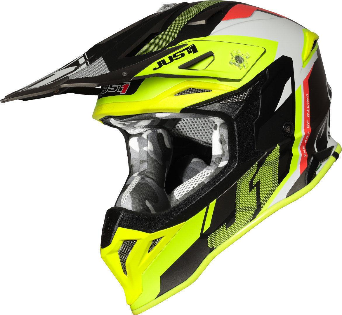 Just1 J39 Reactor Motocross kypärä  - Musta Punainen Keltainen - Size: L