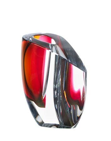 Kosta Boda Mirage Harmaa/Punainen Vaasi 15,5 cm