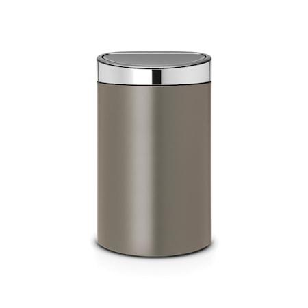 Brabantia Touch Bin, Mattaharjattu teräskansi, muovinen sisäämpäri 40 L Platinum