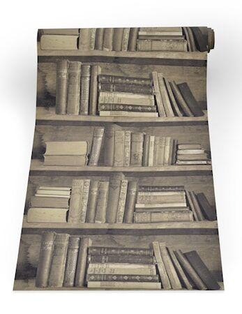 Mineheart Bookshelf sepia Tapetti