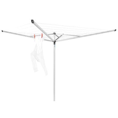 Brabantia Kuivausteline Essential, 40m, 4 uloketta, maaputki muovista 35mm + Suojahuppu 40 M metalli harmaa