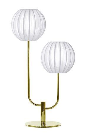 Globen Lighting Pöytävalaisin Muovinarulla Duo Valkoinen / Messinki