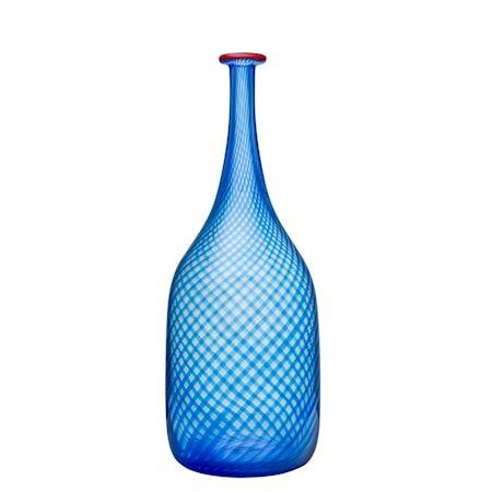 Kosta Boda Red Rim sininen pullo 26 cm