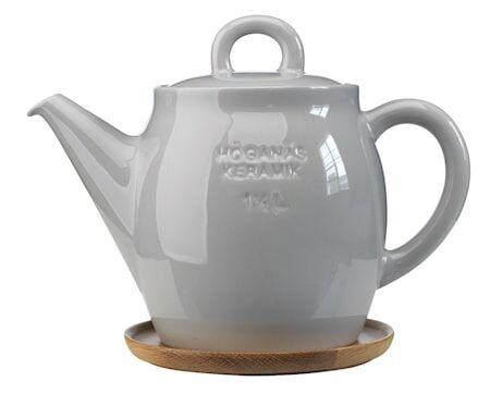 Höganäs Keramik Höganäs Keraaminen Teekannu + puuvati 1,5l, Harmaa