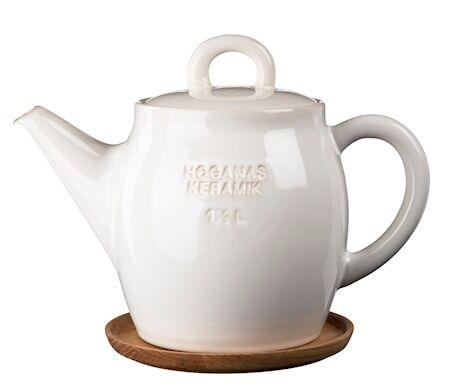 Höganäs Keramik HK Teekannu 1,5 L Valkoinen puualustalla