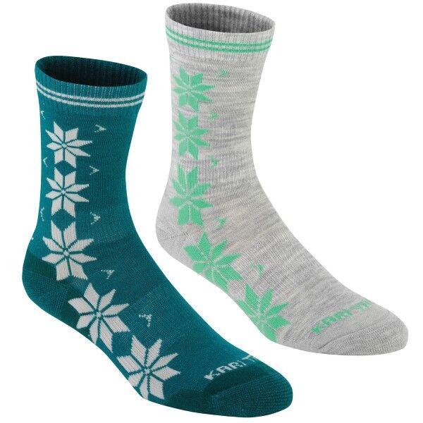 Kari Traa 2 pakkaus Vinst Wool Sock - Grey/Turquoise