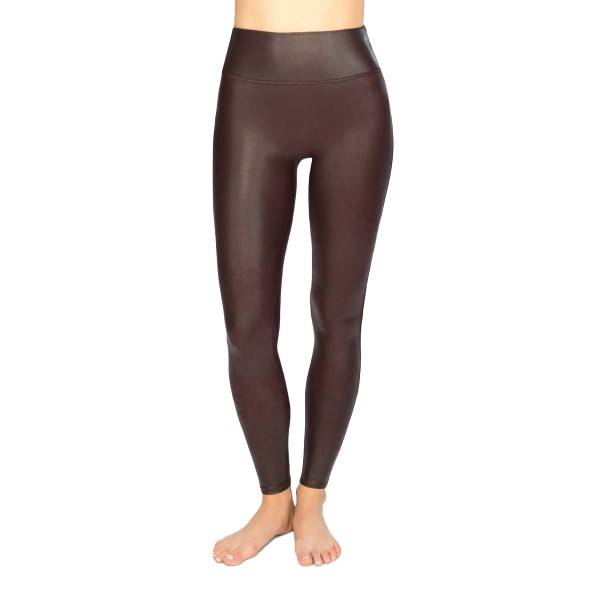 Spanx Faux Leather Leggings - Wine red