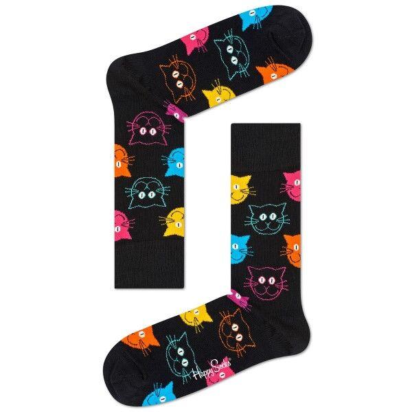 Happy Socks Cat Sock - Black pattern-2