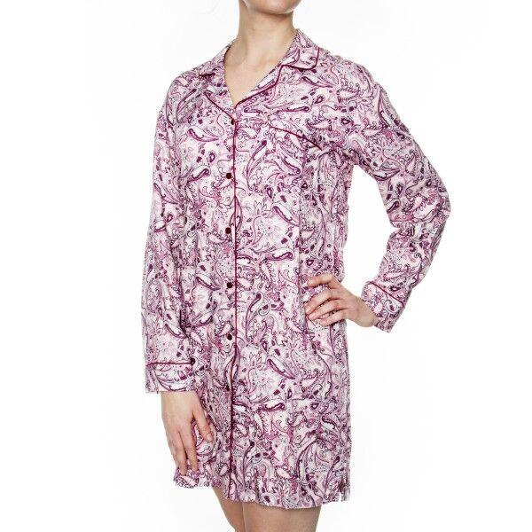 Damella Woven Viscose Nightshirt - Pink Pattern
