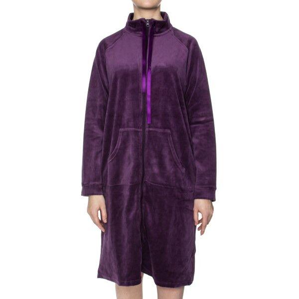 Damella Velour Zip Robe - Deep purple