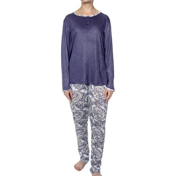 Damella Bamboo Paisley Pyjamas - Blue Pattern