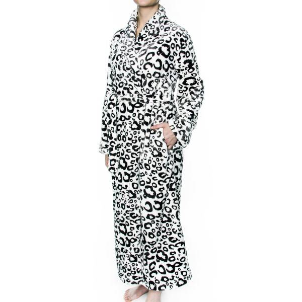 Damella Fleece Robe Print - White
