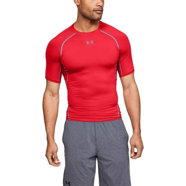 Under Armour HeatGear SS Compression Shirt - Red  - Size: 1257468 - Color: punainen