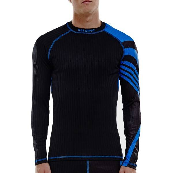Salming Baselayer LS Tee Men - Black/Blue  - Size: 1277656 - Color: musta/sin