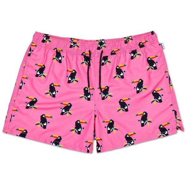 Happy Socks Toucan Swim Shorts - Pink Pattern * Kampanja *  - Size: TOU11 - Color: vaal.pun.kuvio