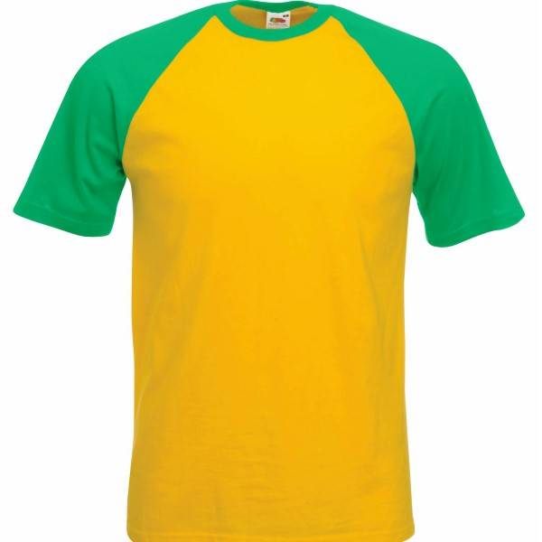 Fruit of the Loom Short Sleeve Baseball T - Green/Yellow