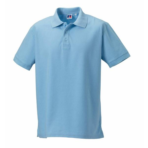 Russell Athletic M 100% Cotton Durable Polo - Skyblue  - Size: 577M - Color: taivaansininen