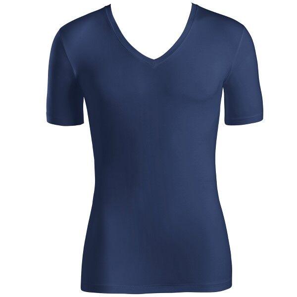 Hanro Cotton Superior Short-sleeved V-neck Top - Navy-2