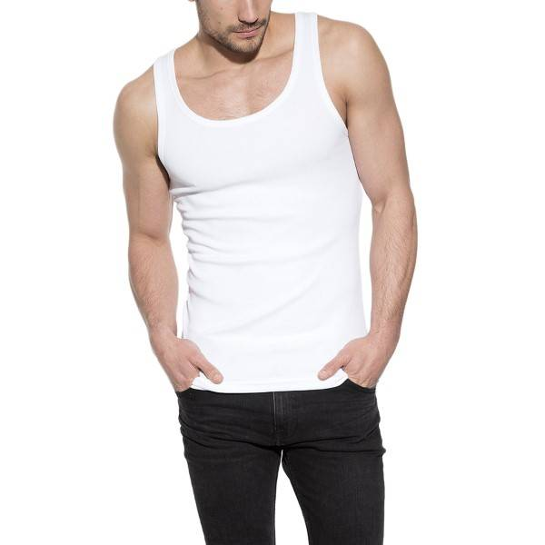 Bread & Boxers Bread and Boxers Tank Ribbed - White  - Size: 105401 - Color: valkoinen