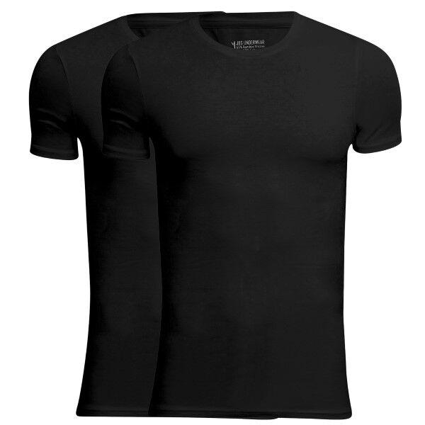 JBS 2 pakkaus Bamboo O-neck T-shirt - Black  - Size: 1080-02 - Color: musta