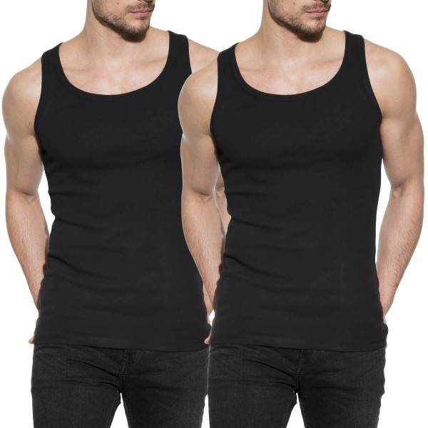 Bread & Boxers Bread and Boxers Men Tanks 2 pakkaus - Black  - Size: 124302 - Color: musta