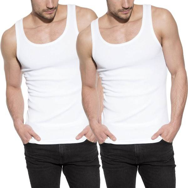 Bread & Boxers Bread and Boxers Men Tanks 2 pakkaus - White  - Size: 124301 - Color: valkoinen