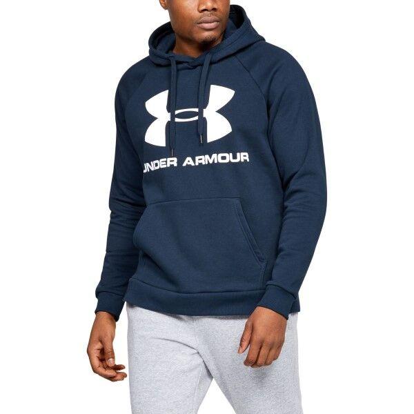 Under Armour Rival Fleece Sportstyle Logo Hoodie - Darkblue  - Size: 1345628 - Color: tummansin.