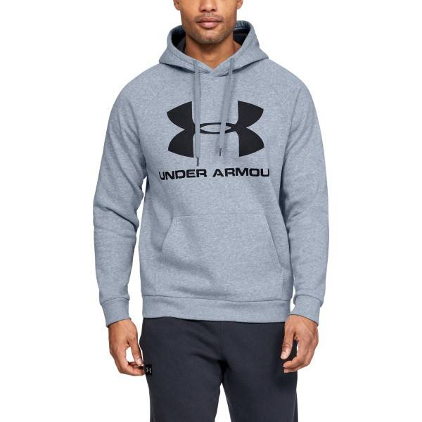 Under Armour Rival Fleece Sportstyle Logo Hoodie - Grey  - Size: 1345628 - Color: harmaa