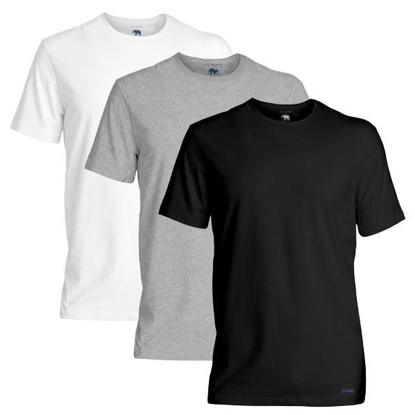 Ted Baker 3 pakkaus 24 7 Basics Crewneck T-Shirt - Black/Grey  - Size: 170447 - Color: musta/harm