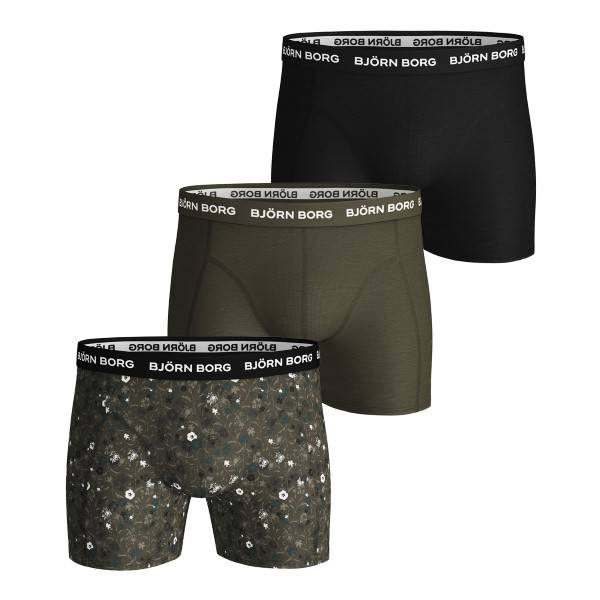 Björn Borg 3 pakkaus Essential Shorts 213 - Darkgreen  - Size: 2021-1329 - Color: tummanvihr.