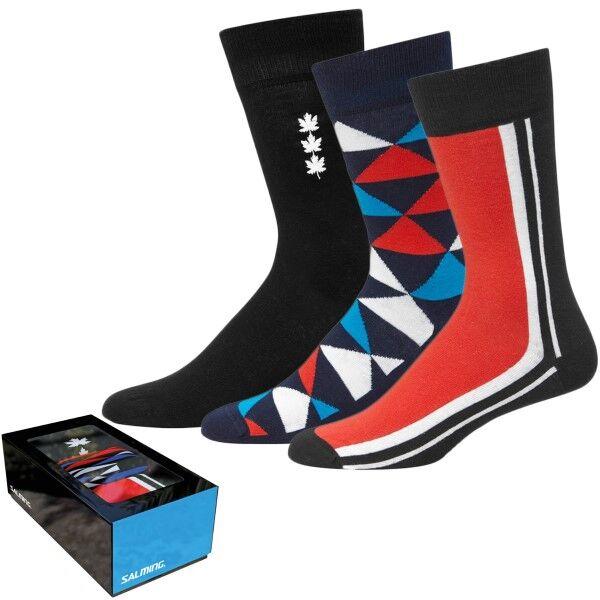 Salming 3 pakkaus Gift Box Mens Socks - Navy pattern  - Size: 800370 - Color: Merensininen kuviollinen