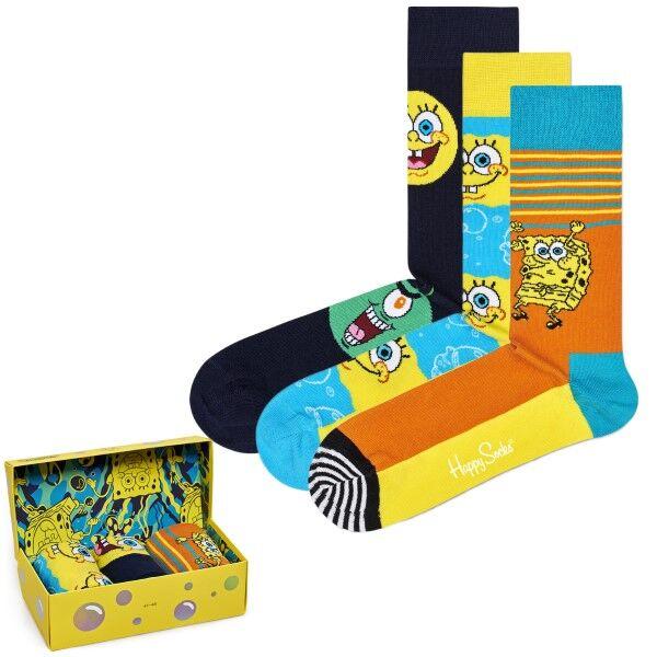 Happy socks 3 pakkaus Sponge Bob Gift Box - Yellow Pattern  - Size: XBOB08 - Color: kelt. Kuvionti