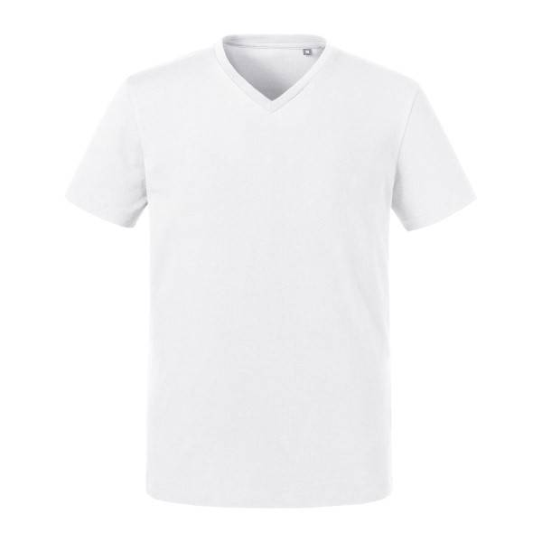 Russell Athletic Pure Organic Men Heavy Tee V-Neck - White  - Size: 103M - Color: valkoinen